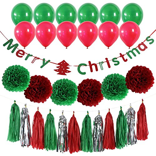 Derhom Merry Christmas Banner Kit - Christmas Party Decorations - 10 Balloons, 6 Pompom Flower Tissue Paper and 15 Paper tassel, Xmas Day Decor Supplies for Christmas Party Home Tree Decorations ()