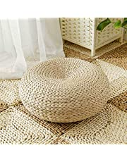 Japanese Style Straw Futon Knitted Round Seat Cushion Natural Seat Cushions Woven Straw Cushions, Tatami Floor Cushions, Round, Pouf, Yoga Seat Cushions Handcrafted Overlay Knitted Round Seat