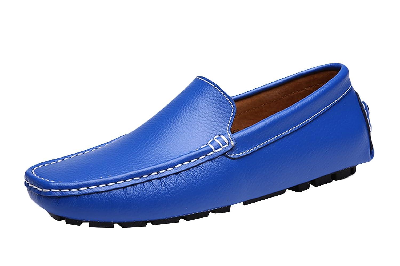 SK Studio Hombre Mocasines Zapatos Del Barco Respirable Calzado de Cuero Zapatos de Conducción Mocasine 44 EU|Azul