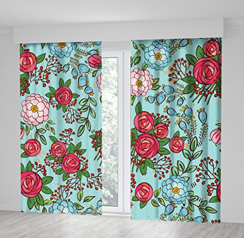 e Floral Pattern Flowers Roses Peonies Berries Bouquets Red Green Blue Pink Artwork Print Curtain 114