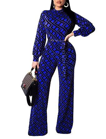 96548ece6cd Women s Wide Leg Jumpsuit - Elegant Long Sleeve Unique Patterned Pants  Suits Belted Small Blue