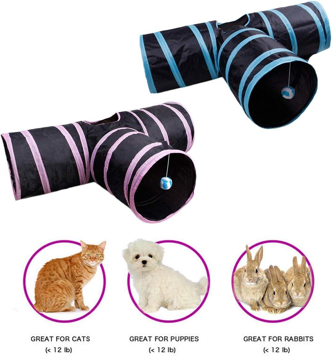 Sairis Pet Supplies Cat Tunnel 3 Way Kitten Rabbit Play Tube Toy Paper Tunnel Foldable Cat Tunnel Cat Toy Drill Bucket
