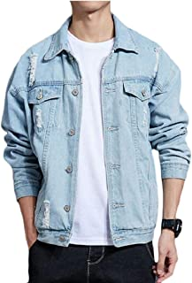 Gocgt Men Button Down Ripped Holes Faded Denim Long Sleeve Jean Jacket