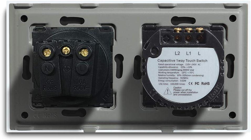 BSEED interruptor luz pared con enchufe,1 Gang 1 Way interruptor tactil pared Normal 16A a 250V Enchufe de pared,Panel de cristal Schuko Enchufe Blanco
