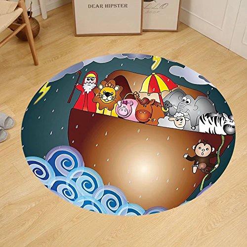 Gzhihine Custom round floor mat Noahs Ark Decor Noahs Ark Before The Journey All Animals Myth Faith Grace Old Story Artprint Bedroom Living Room Dorm Decor Multi by Gzhihine