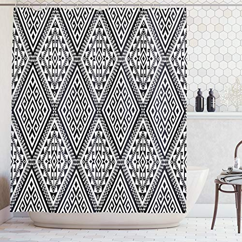 (Ambesonne Geometric Shower Curtain, Diamond and Triangle Diagonal Shaped Symmetric Aztec Folk Ethnic Pattern, Fabric Bathroom Decor Set with Hooks, 75 Inches Long, Black and White )