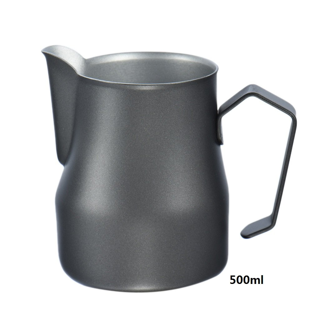black, 700ml Emousport Wholesale Coffee Pitcher Stainless Steel Milk Frothing Pitcher Jug Espresso For Coffee Moka Cappuccino Latte Drink Barista Craft