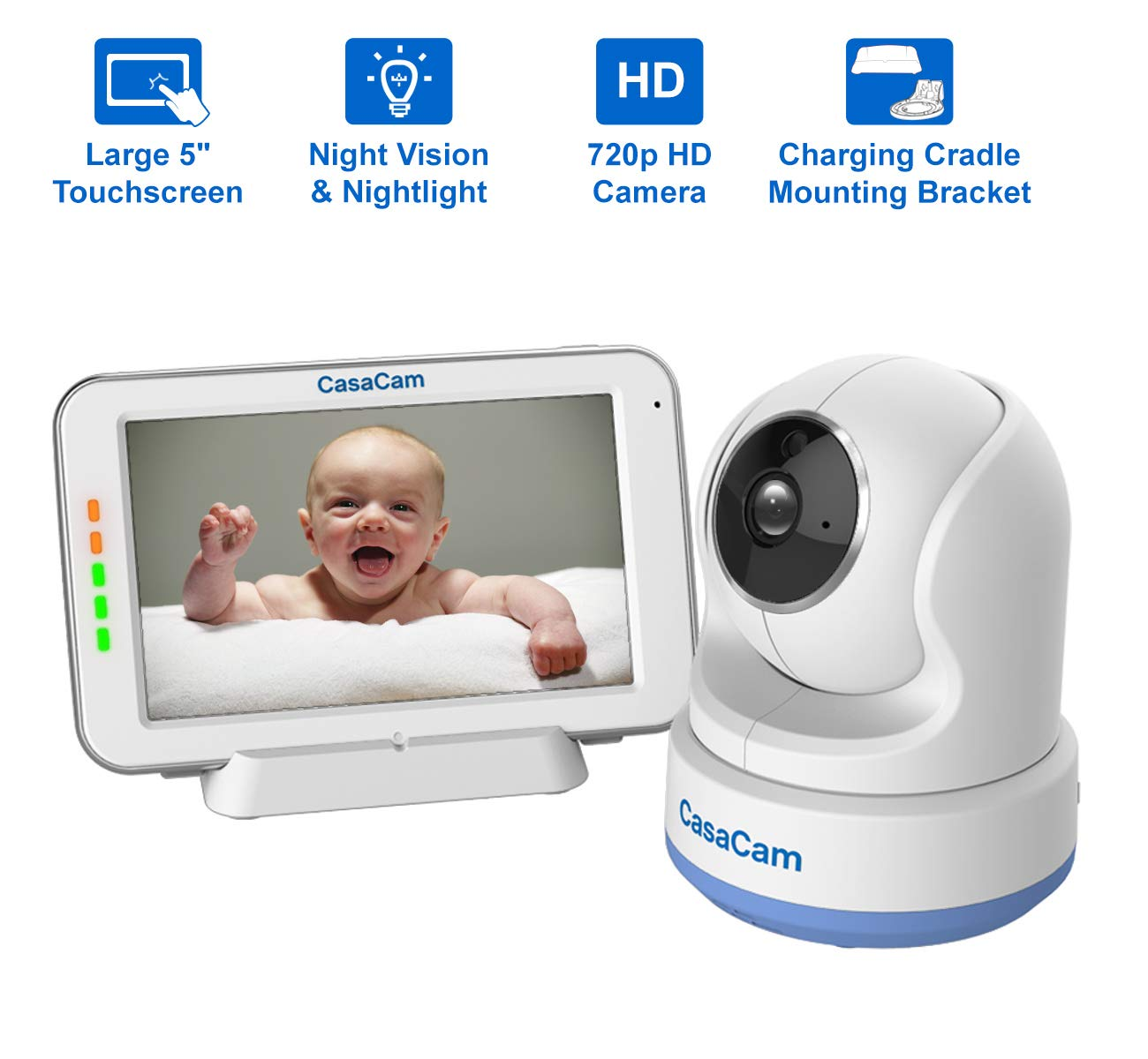 CasaCam BM200 Video Baby Monitor with 5 Touchscreen and HD Pan Tilt Camera, Two Way Audio, Lullabies, Nightlight, Automatic Night Vision and Temperature Monitoring Capability