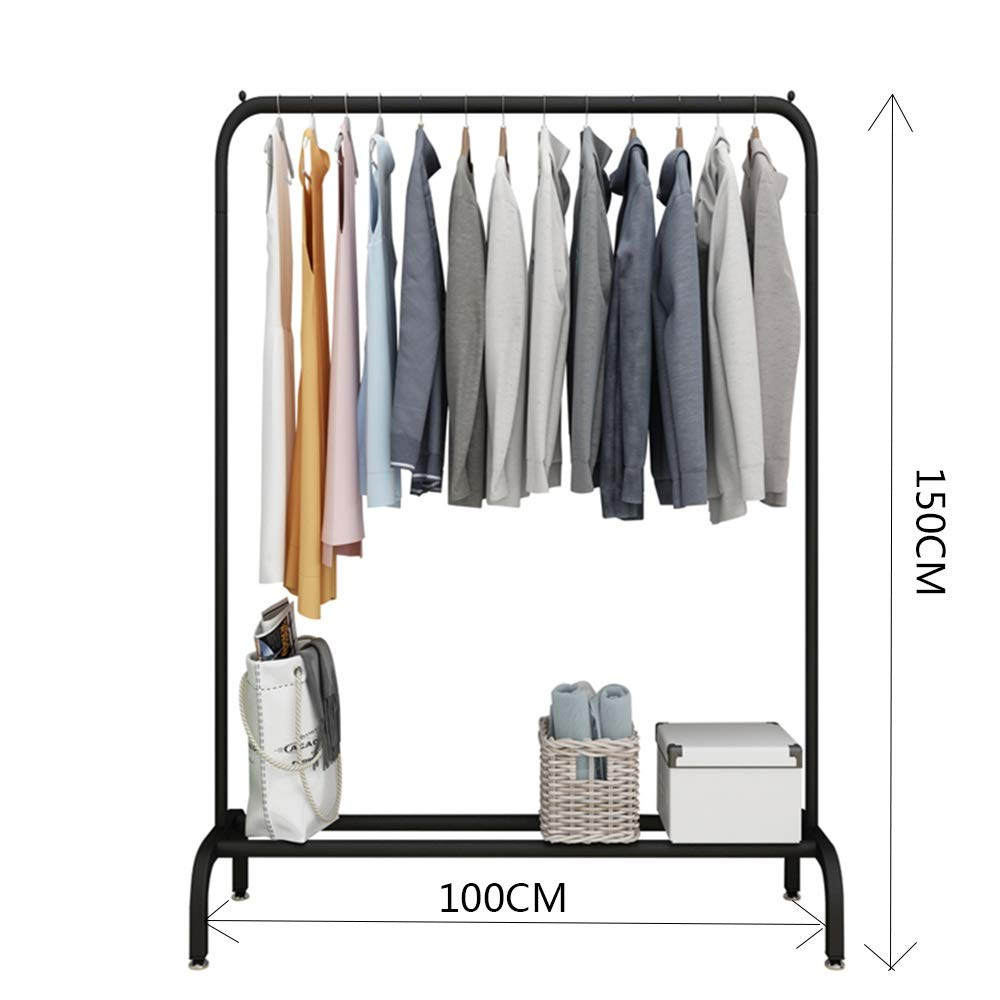 Black 100×150CM JIAYING Fashion Heavy Duty Garment Rack with Shelves 1-Tier shoes Rack,Coat Rack with Hanger Bar for Living Room, Bedroom, Study (color   Wood color, Size   80×130CM)
