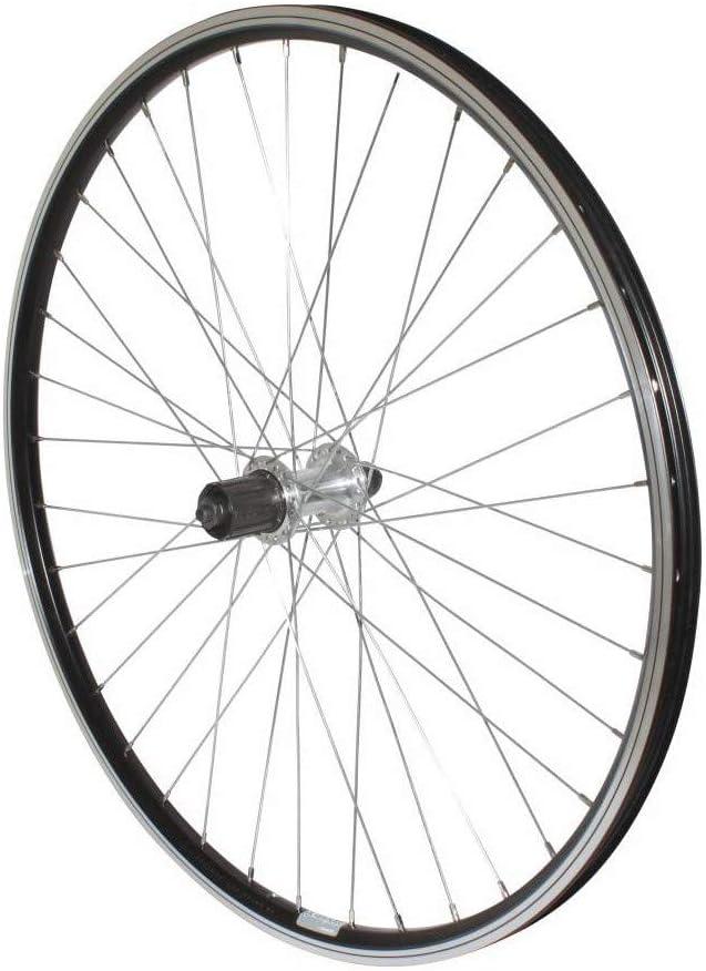 Rueda para Bicicleta de monta/ña de 26 Pulgadas Modelo MOY de Aluminio Bloqueo de Cassette de 9 a 8 V. P2R Trasera Color Negro Doble Pared
