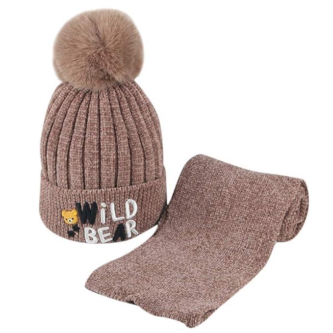 Liqiqi Bambino Cappello Inverno Neonato Bambine Caldo Berretto Sciarpa Set  🍎 Pompon Carino Caldo Knitting Cappello ca39925f0f25