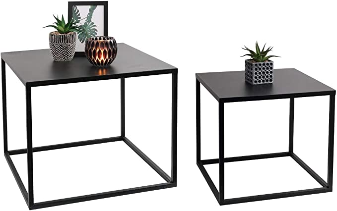 LIFA LIVING Tavolini Quadrati da Salotto Set da 2 ...
