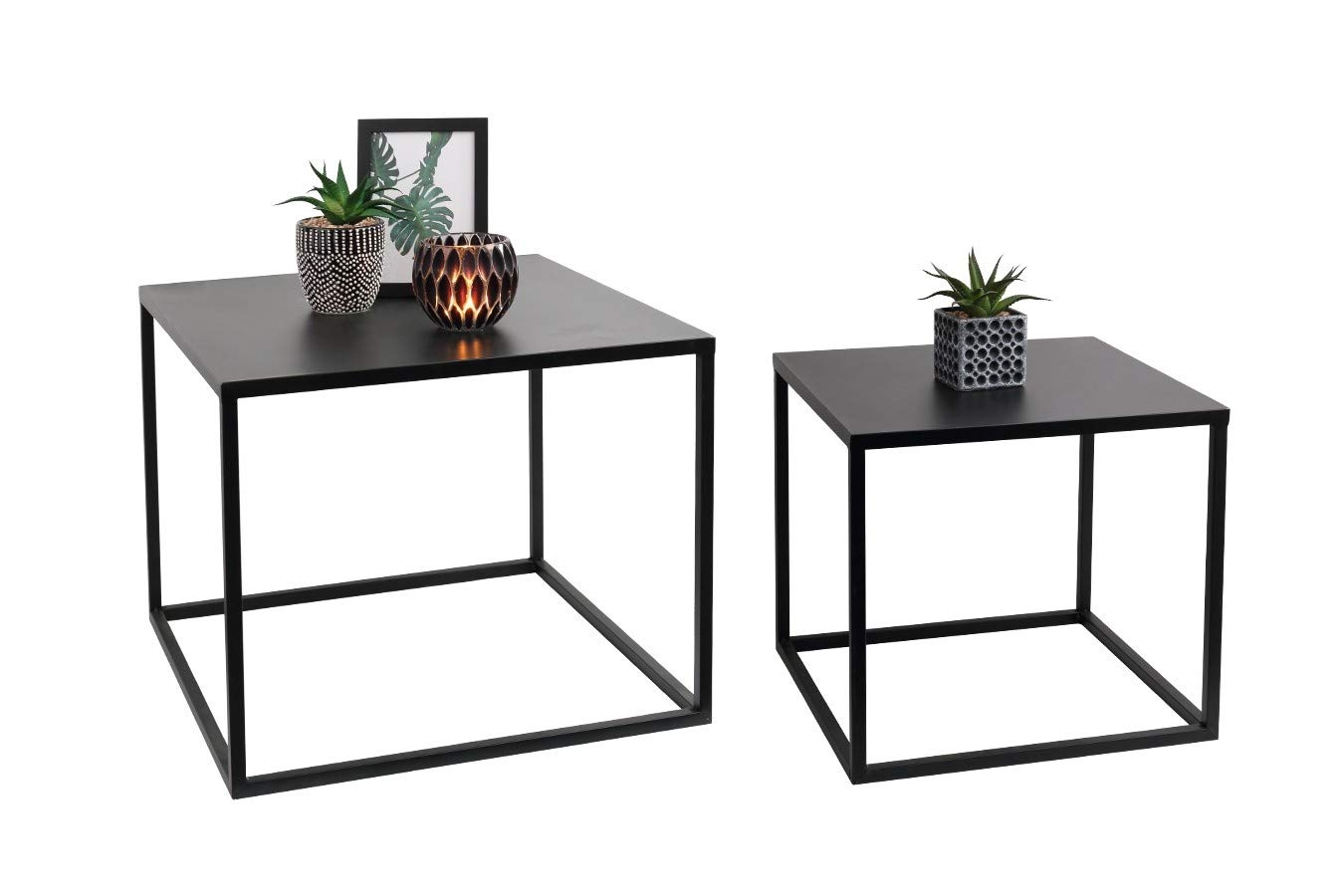 Lifa Living Nest Of 2 Tables Cube Square Coffee Tables For Small Spaces Modern Side Tables Black Metal End Tables For Living Room Bedroom Patio Office Buy Online In Aruba At Aruba Desertcart Com