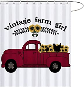 MAEZAP Vintage Farm Girl Farmhouse Fall Shower Curtain Red Truck with Sunflowers Summer Bathroom Decor Waterproof Polyester with Hooks 69x70 Inchs