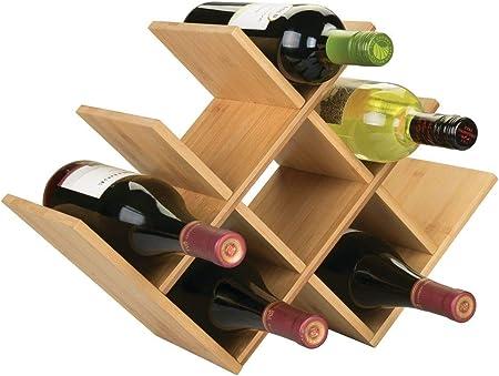 ALMACENAMIENTO CON ESTILO: Estos botelleros de madera contienen hasta ocho botellas de vino u otras