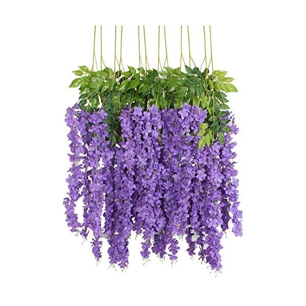 Duovlo 12 Piece Artificial Silk Wisteria Vine 3.6 Feet Ratta Hanging Flower Garland String Home Party Wedding Decor (Purple)