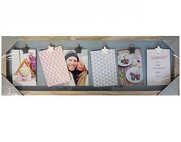 Fotogalerie Bilderrahmen Bildergalerie Fotocollage Vers. Größen ( Typ 3  Braun   6 Fotos Mit Clip