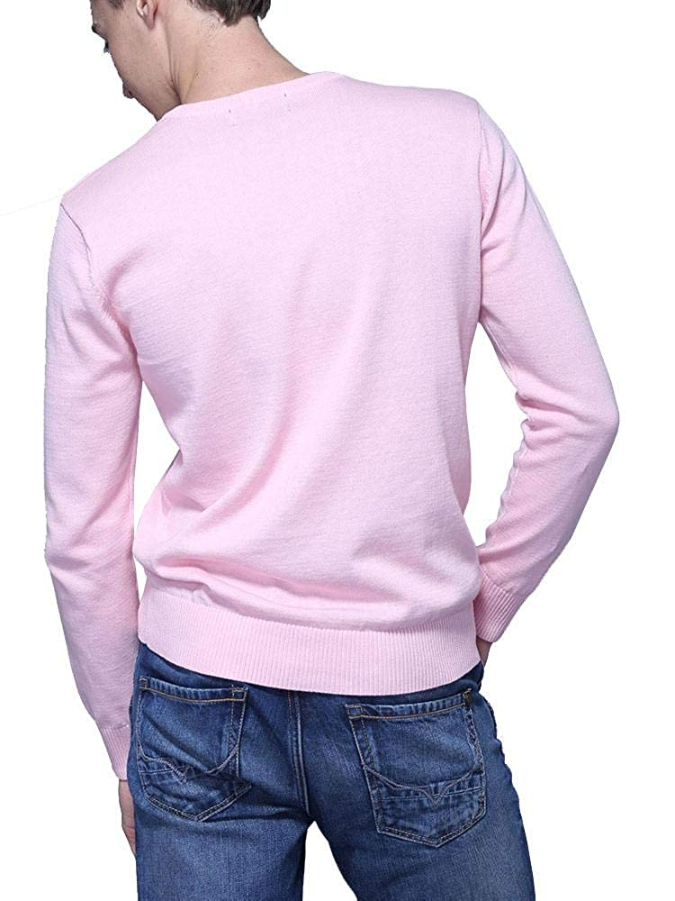 AKARMY Mens Slim Fit Lightweight Soft Knitted Long Sleeve Fitted V-Neck Pullover Sweater