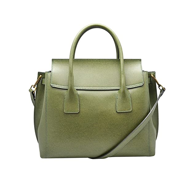 42ad6534f32 AURORA Italian Tote Handbag flap shoulder purse shoulder strap grained  stiff leather  Handbags  Amazon.com