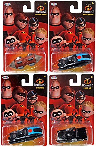Cars Die Cast Disney Pixar Animated Movie The Incredibles Part 2   4 Car Pack   Police Car   Underminer Tunneler   Boosted Car