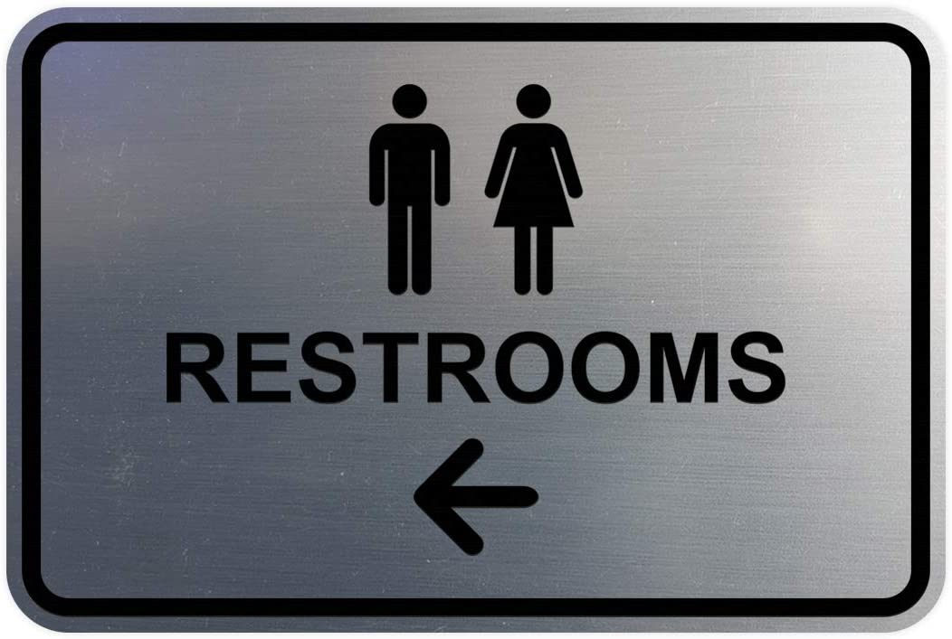 Signs ByLITA Classic Framed Restrooms Left Arrow Sign (Brushed Silver) - Medium
