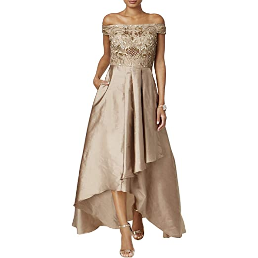 Adrianna Papell Womens Beaded Off The Shoulder Gown With High Low