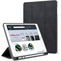"Cazcase PU Smart Flip Case Cover for Apple iPad Air 3/ iPad Pro 10.5"" with Pencil Holder (Black)"