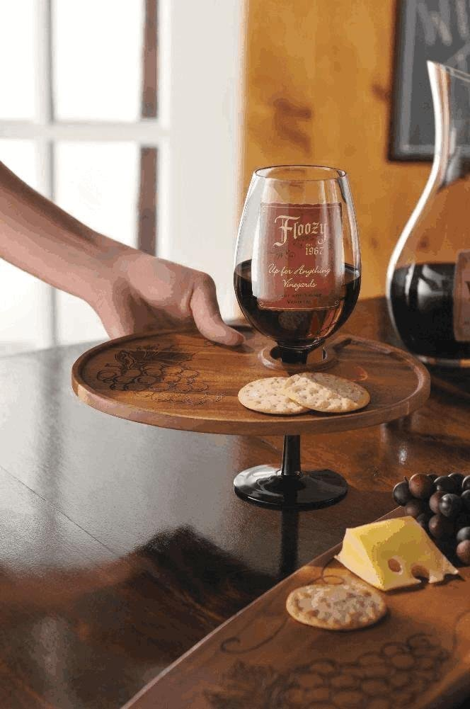 Wooden Wine Glass Holder Plate