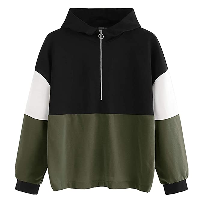 Btimoo Clothing Women Sweatshirts Female Hoodie Zipper Hoodie Jumper Long Sleeve Color Block Sweatshirt Pullover Tops