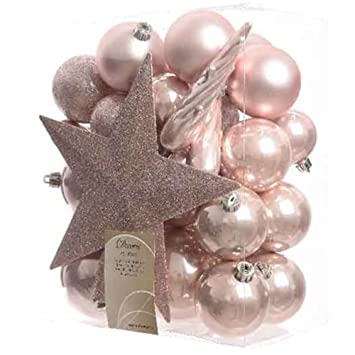 bauble star combo blush pink xmas tree decorations shatterproof balls