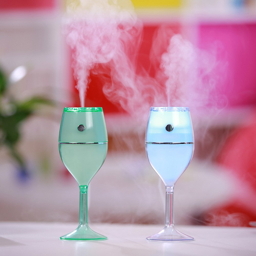 iLoving Color Changing Wine Glass USB Mini Humidifier, Auto Shut-off Cool Mist Humidifier Office, Home, Study, Car, Best Gift Her/Girl Friend Birthday