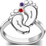 BAUMA AUTO Personalized Sterling Silver Mothers Ring with 2/3/4/5/6 Simulated Birthstones can Engraved Custom Name for…