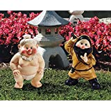 Garden Gnome Statue – Far East Garden Fighters Sumo Wrestler & Ninja Gnome Set – Lawn Gnome For Sale