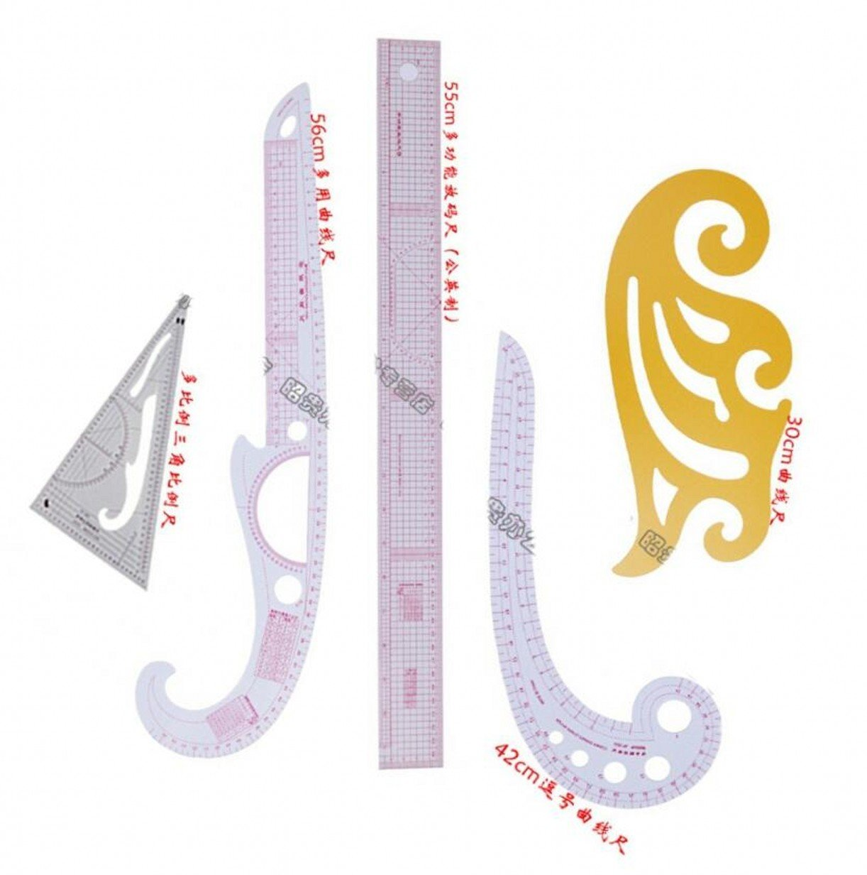 CHENGYIDA Practical 5 Styling Ruler French Curve Set French Curve,Comma Shape Curve Line Pattern Ruler ,METRIC CURVED RULER by CHENGYIDA