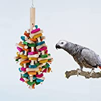 Bird Chewing Toy with Hanging Bells, Multicolored Wooden Blocks Tearing Toys for Birds, Decorative Accessories for…