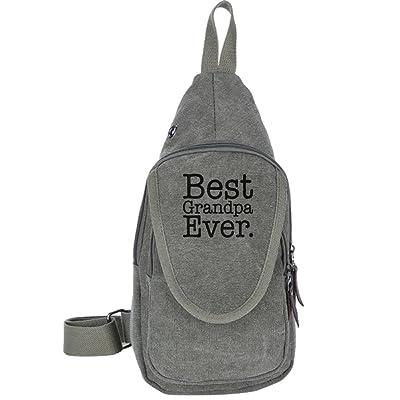Best Grandpa Ever Canvas Sling Bag Sport Outdoor Bike Chest Shoulder Pack Unbalance Crossbody Bag Travel Daypack For Adult