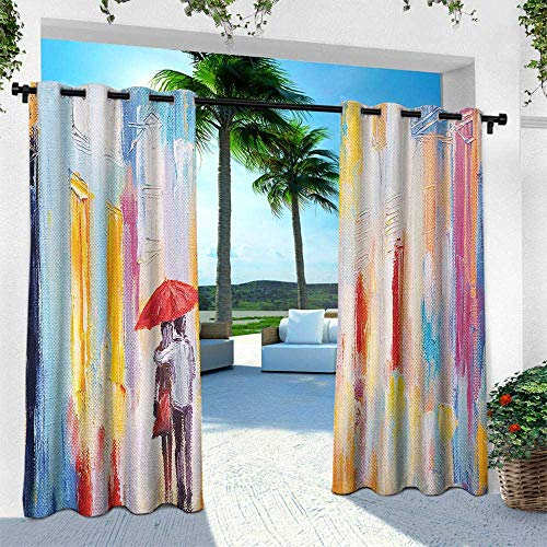 Urban, for Patio Light Block Heat Out Water Proof Drape,Silhouette of Valentines Couple on a Street Rainy Day Love Romance in Urban City, W84 x L108 Inch, Multicolor -