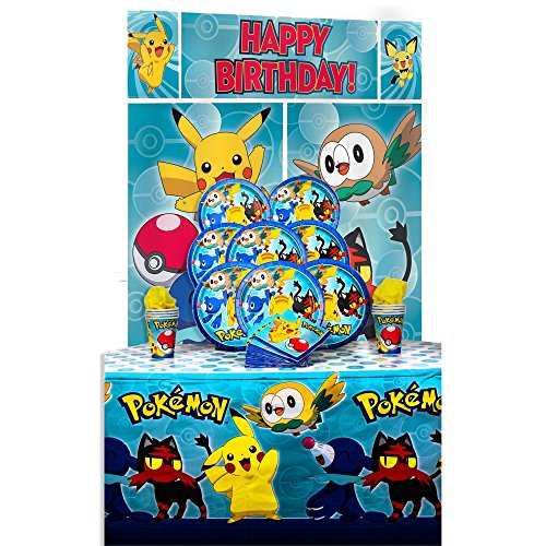 B-THERE Party Pack Bundle of Pokemon Party Supplies, Seats 8 - Napkins, Plates, Cup, Tablecloth and Scene Setter - Pokemon Party Supplies, Deluxe Party Pack ()