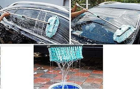 Weastion Fregona para lavar coches Cepillo suave para lavar el cabello Varilla larga telescópica Escorpión autosuficiente Función de limpiaparabrisas ...