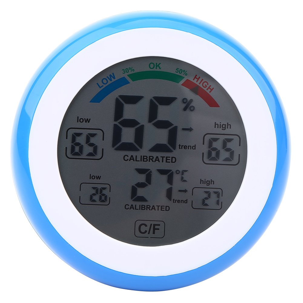 Digital LCD Temperature Thermometer Hygrometer Wireless Electronic Temperature Humidity Gauge Meter ℃/℉ Measuring Temperature & Humidity(Blue)