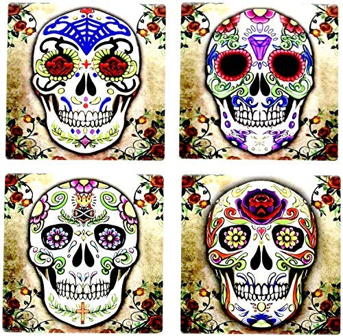 Day of the Dead Dia De Muertos - Sugar Skull Spirit 4 Inch by 4 Inch Ceramic Tile Coaster - Set of 4 -