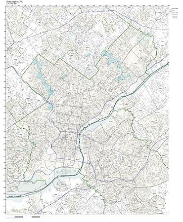 Amazoncom ZIP Code Wall Map Of Philadelphia PA ZIP Code Map - Philadelphia map