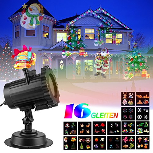 Led Christmas Garden Light Projector Projection Lamp Fairy Lights Show For Xmas Holiday Party Landscape Stage Lighting,16 patterns,Waterproof,Indoor or outdoor Use (16 slides 2)