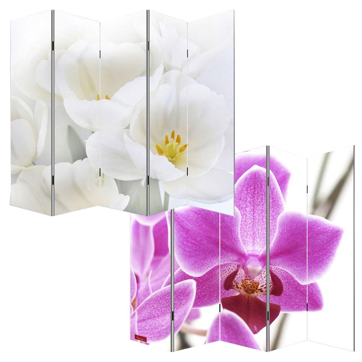 Paravento divisore doppia immagine 5 pannelli M68 180x200cm ~ orchidee Mendler