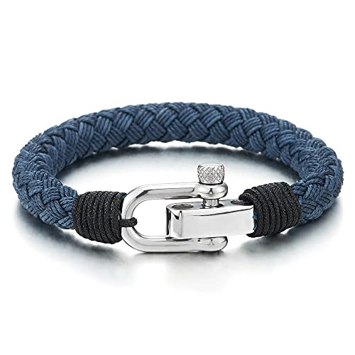 a2f0d694a94913 Amazon.com: COOLSTEELANDBEYOND Large Blue Braided Cotton Rope Mens ...