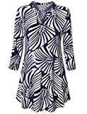Timeson Women's Long Sleeve Tunic V Neck Floral Printed Loose Casual Tunic Shirt Top