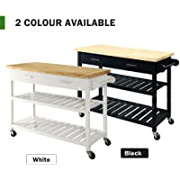 Generic Hooks Pain Wood Top els Ho Shelves Solid vel Whe Kitchen Trolley 2 Solid Swivel Wheels Hooks Painted Color:Random 2 Drawers 2 She Drawers 2