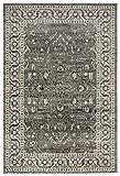 Stone & Beam Mid-Century Modern Blooming Medallion Rug, 4′ x 6′, Dark Grey