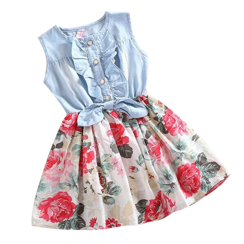 I3CKIZCE Kleinkind Kind Baby M/ädchen Kleid Casual Floral Lace Half High Neck Langarm Button R/üschen Kleid 1-8 Jahre
