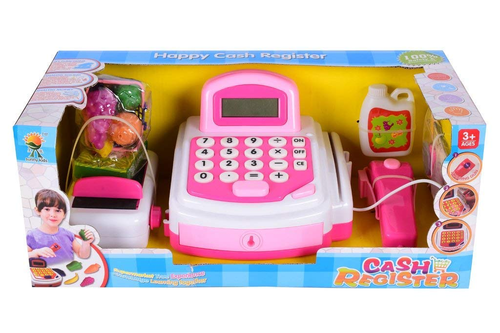 Planet Of Toys Happy Cash Register With Coins , Bank Notes , Credit Card Light And Sound